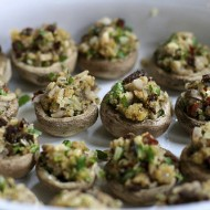 stuffed mushrooms, ready to bake