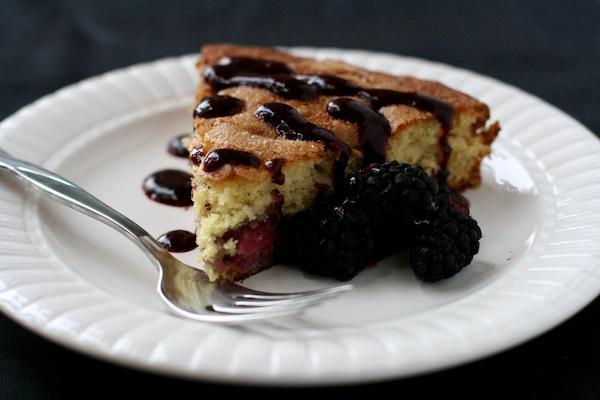blackberry buttermilk cake with blackberry compote - The Merry Gourmet