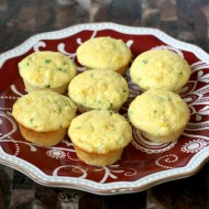 mini corn muffins on red plate, 2