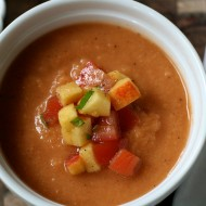 tomato and peach gazpacho