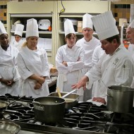 Gathering around Chef Bruno for a demonstration.