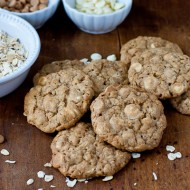 oatmeal cookies with white chocolate and peanut butter chips