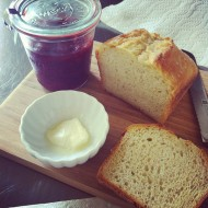 afternoon snack: bread and butter and jam