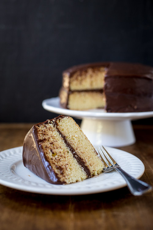 vanilla sponge cake with chocolate frosting | the merry gourmet