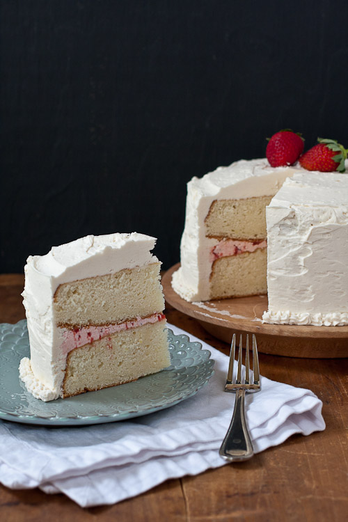 white cake with strawberry filling and buttercream the merry gourmet