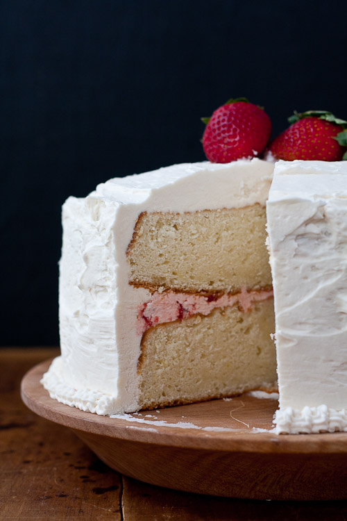 White Cake With Strawberry Buttercream Frosting