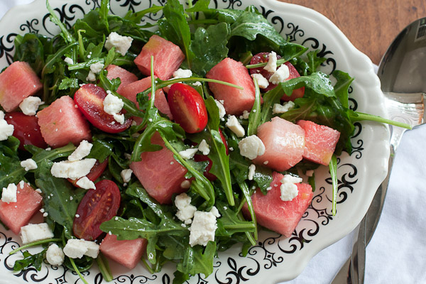 watermelon and arugula salad with basil vinaigrette | the merry gourmet