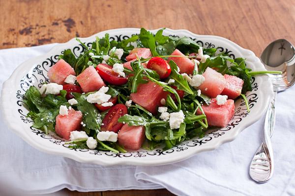 watermelon and arugula salad with basil vinaigrette | the merry gourmet