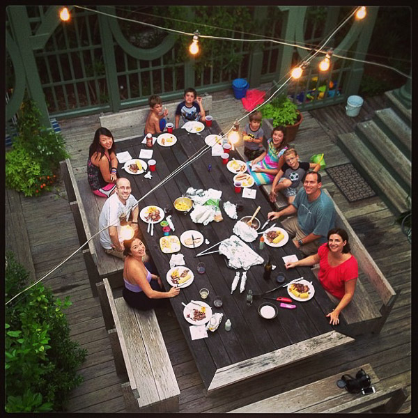 Thanks to Julia for this photo of one of our dinners on the patio.